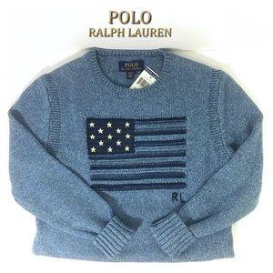 Ralph Lauren Boys M Blue American Flag Sweater NWT